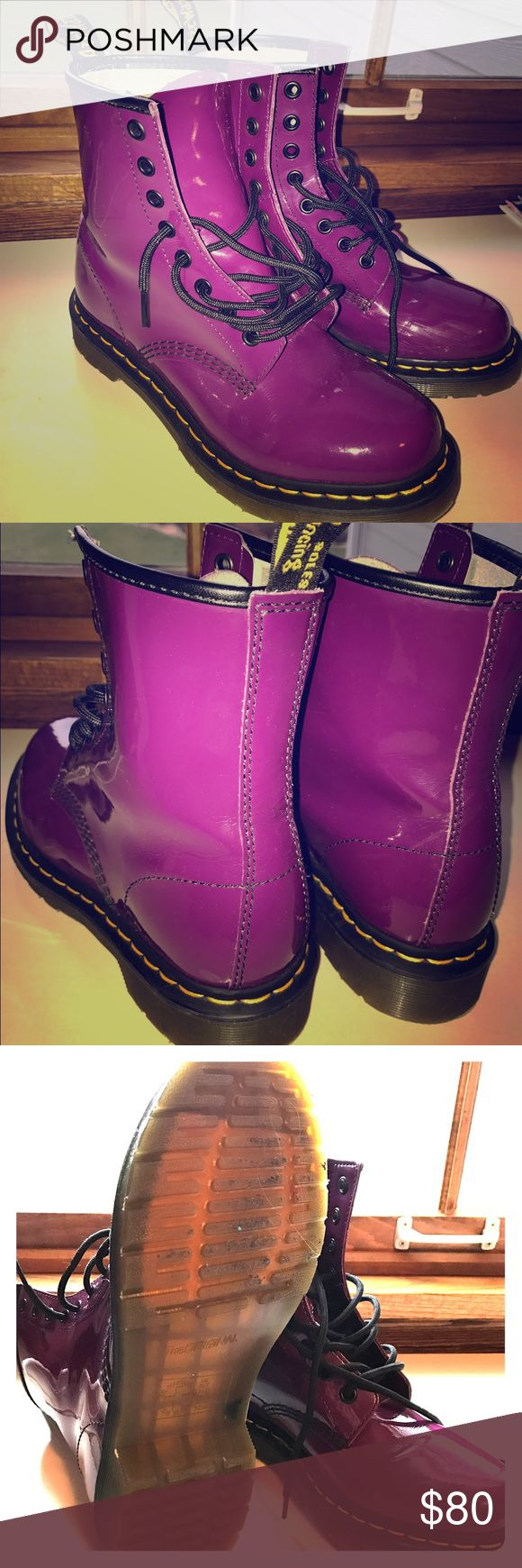 RARE purple dr. martens!!! these boots have only been worn 2 times as you can see they're in perfect condition! super RARE color it's a bright purple but not neon it's a deeper color! Dr. Martens Shoes Combat & Moto Boots
