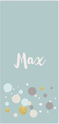 Extra lang formaat geboortekaartje voor een jongen met feestelijke pastel gekleurde bollen en goud look dots en snippers. Alles is te bewerken! Gratis verzending in Nederland en België.