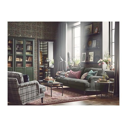 Kanon STOCKSUND 3-sitssoffa - Nolhaga mörkgrön, svart/trä | IKEA i 2019 CD-22