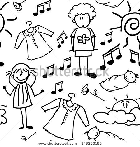 Doodles of happy family (seamless pattern), vector illustration - stock vector