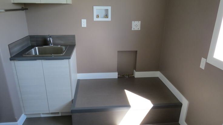 Laundry Room with utility sink and pedestal for washer and dryer #laundry