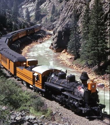 The Silverton-Durango Train: Beautiful day-long journey through the mountains.