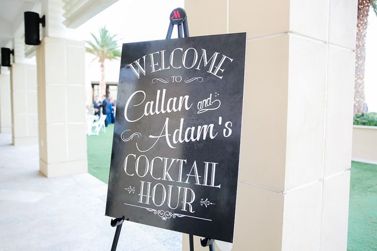 Chalkboard wedding sign for cocktail hour (Scribbled Moments Photography)