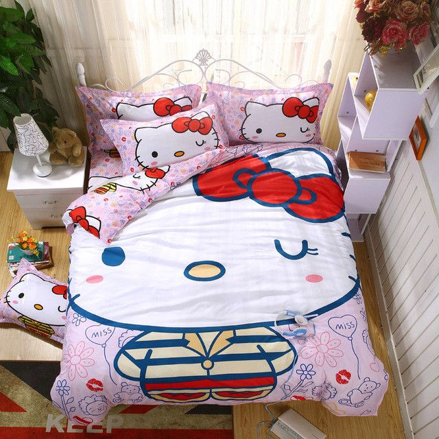 Hello Kitty Bedding Set Include Duvet Cover Bed Sheet Pillowcase Free Shipping