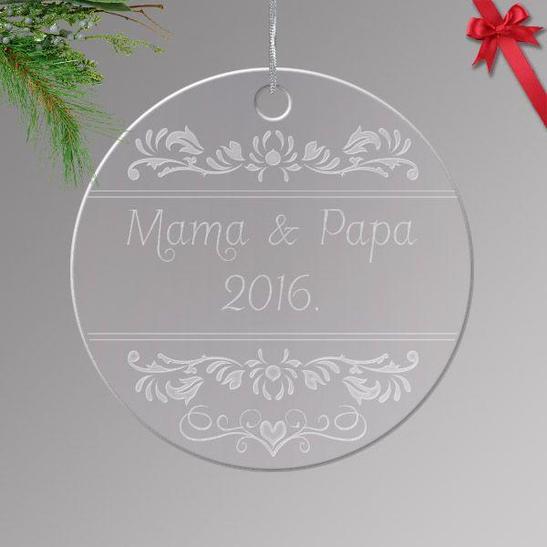 Gravírozott akrilüveg karácsonyfa dísz egyedi névvel 01.