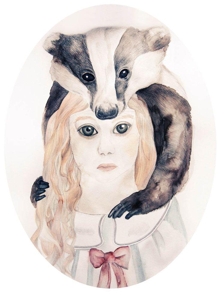 girl, badger, illustration, watercolor, ribbon, #ElementEdenArtSearch