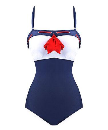 Look what I found on #zulily! Navy Sailor Vintage One Piece Swimsuit #zulilyfinds