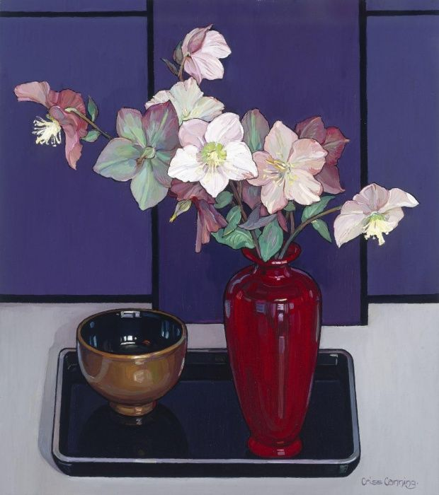 Winter Hellebore, Criss Canning, #art #painting #flowers