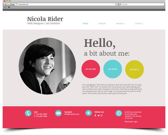 Wix template free website career pinterest free for Cv website template free
