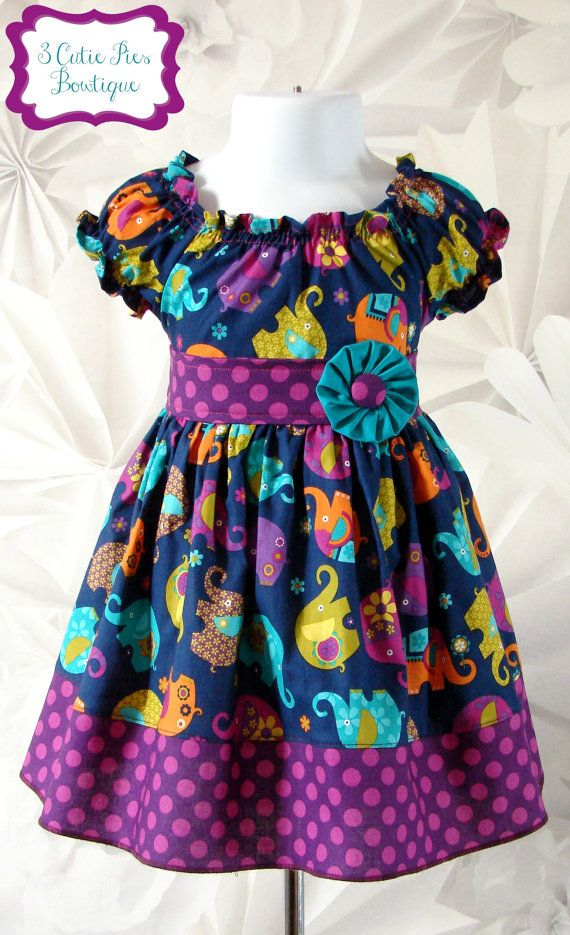 Elephant dress Peasant dress Spring dress by 3cutiepiesbowtique