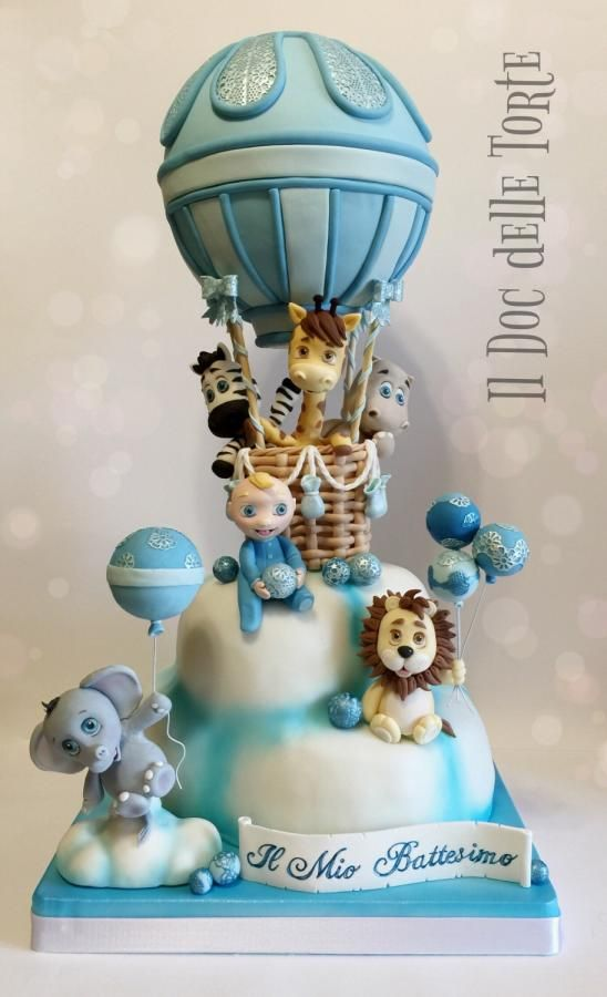 Hot air baloon christening cake - Cake by Davide Minetti