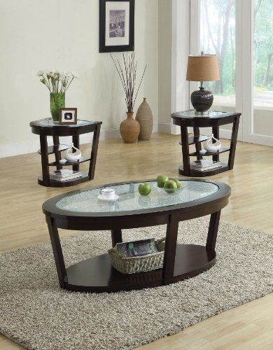 Acme 80015 Capri Cracle Glass Top Coffee Table, Espresso Finish By ACME.  $338.99.