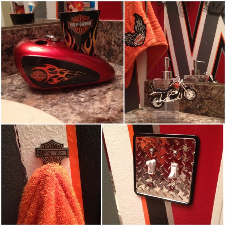 The details. The hand towel is from a big box store & sewed a patch from the Harley Davidson shop on it.