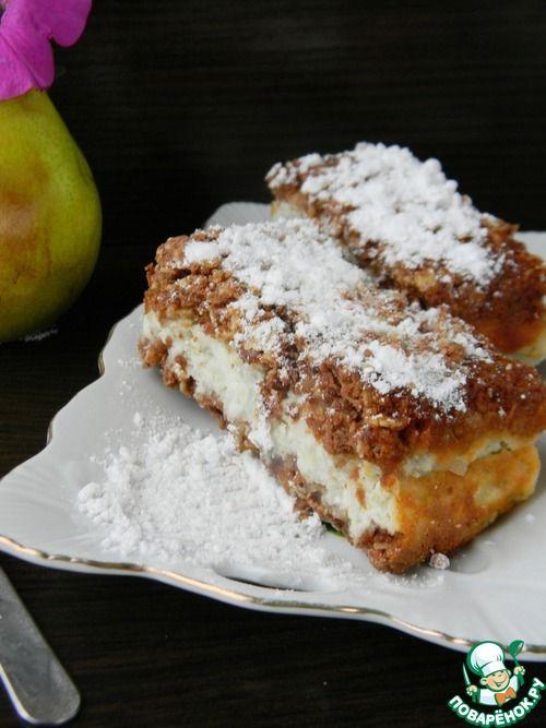 Овсяный пирог с творожно-грушевой начинкой - кулинарный рецепт