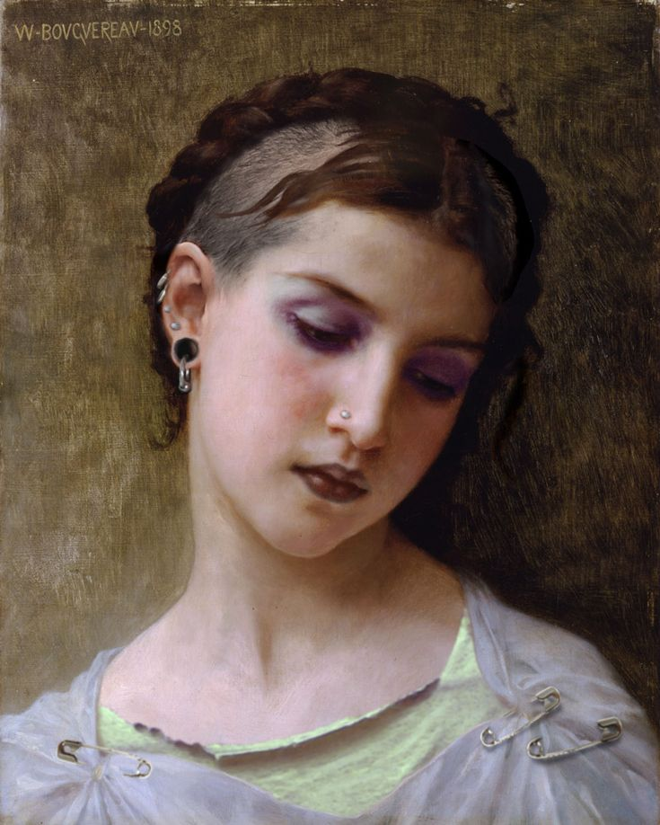 William-Adolphe Bouguereau, Head Of A Young Girl (1898) — Photoshop Design by DutchPuh