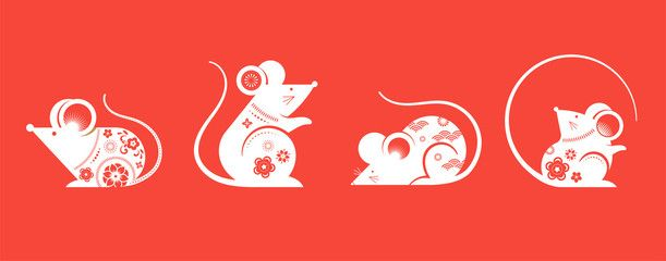 Happy Chinese New Year Design 2020 Rat Zodiac Cute Decorated Mouses Collection Japanese Korean V Chinese New Year Design Happy Chinese New Year Rat Zodiac