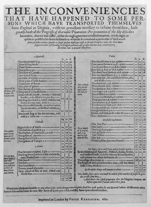 recommended supplies list for Jamestown Colony (1622)
