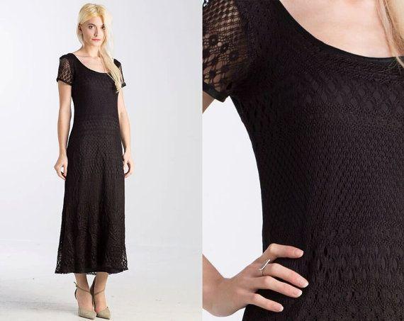 Vintage 90s CROCHET Black Lace Maxi Sheer Dress // Nast Gal // Netting // Open weave