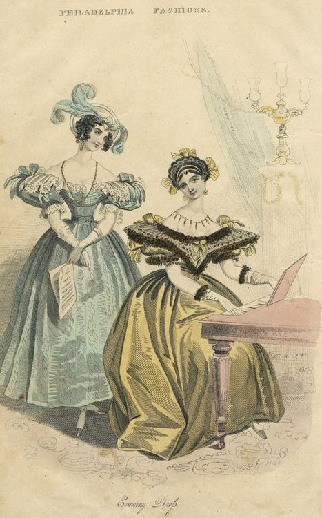 October evening fashions, 1833 US, Godey's Lady's Book