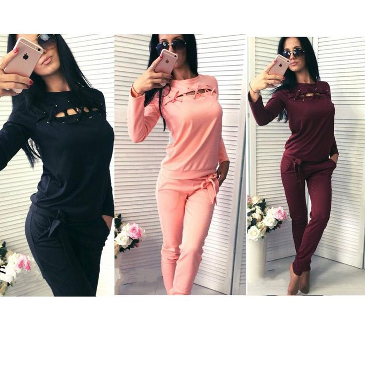 Fashion Womens Sport Tracksuit Workout Activewear Hoodies Sweatshirt Pants Suits