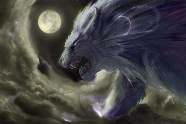 """Raiju é um criatura lendária na mitologia japonesa. Seu nome significa """"besta do trovão"""". Raiju tem um corpo composto de relâmpago."""