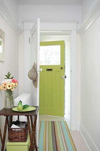 Pretty chartreuse front door.