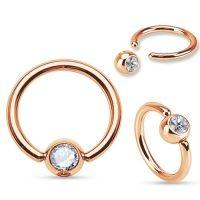 Wenkbrauw piercing ring rose goud wit steentje