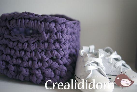 panier carré en trapilho, pour panier chaussettes par exemple