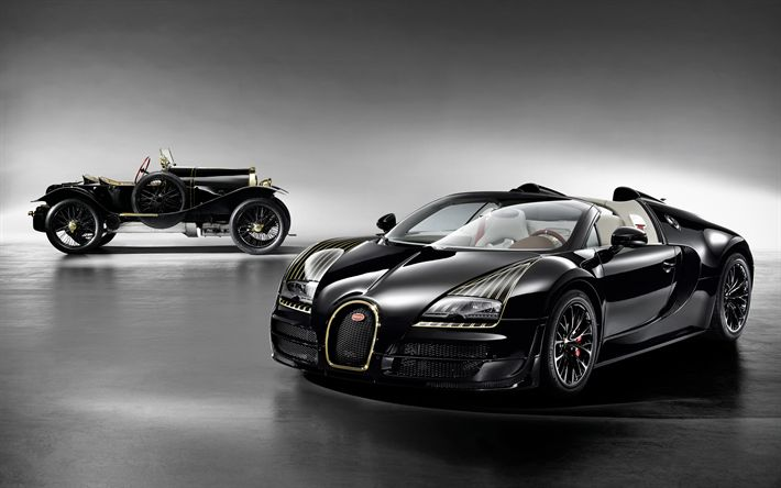 Download wallpapers Bugatti Veyron Grand Sport, 4k, evolution, old Bugatti, hypercars, Bugatti