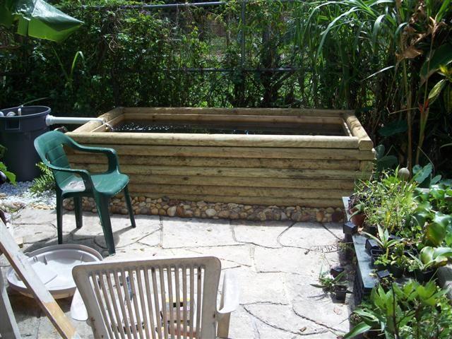 1000 ideas about patio pond on pinterest mini pond for Rectangular koi pond