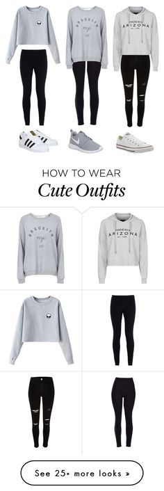 """3 cute outfits"" by olivia-fashionhomebeauty on Polyvore featuring moda, NIKE, Chicnova Fashion, adidas, Topshop, Converse, women's clothing, women, female e woman"