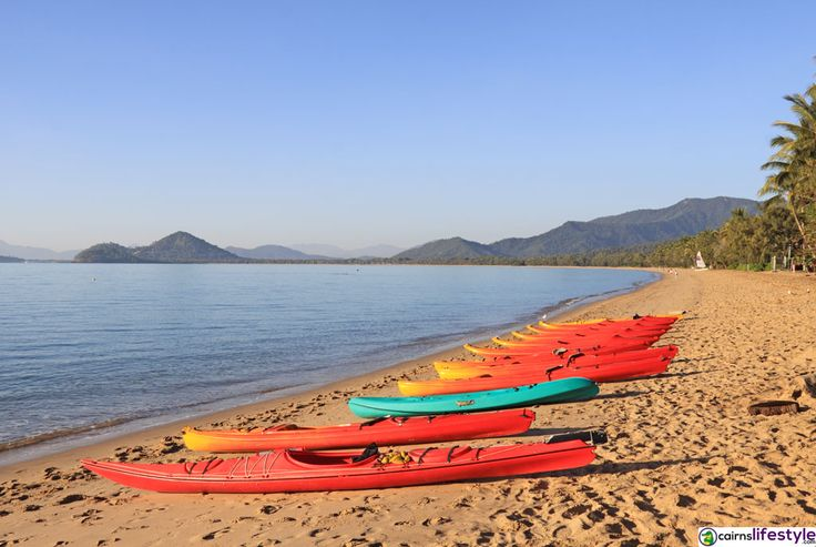 Kayaks on Clifton Beach. #thingstodoincairns