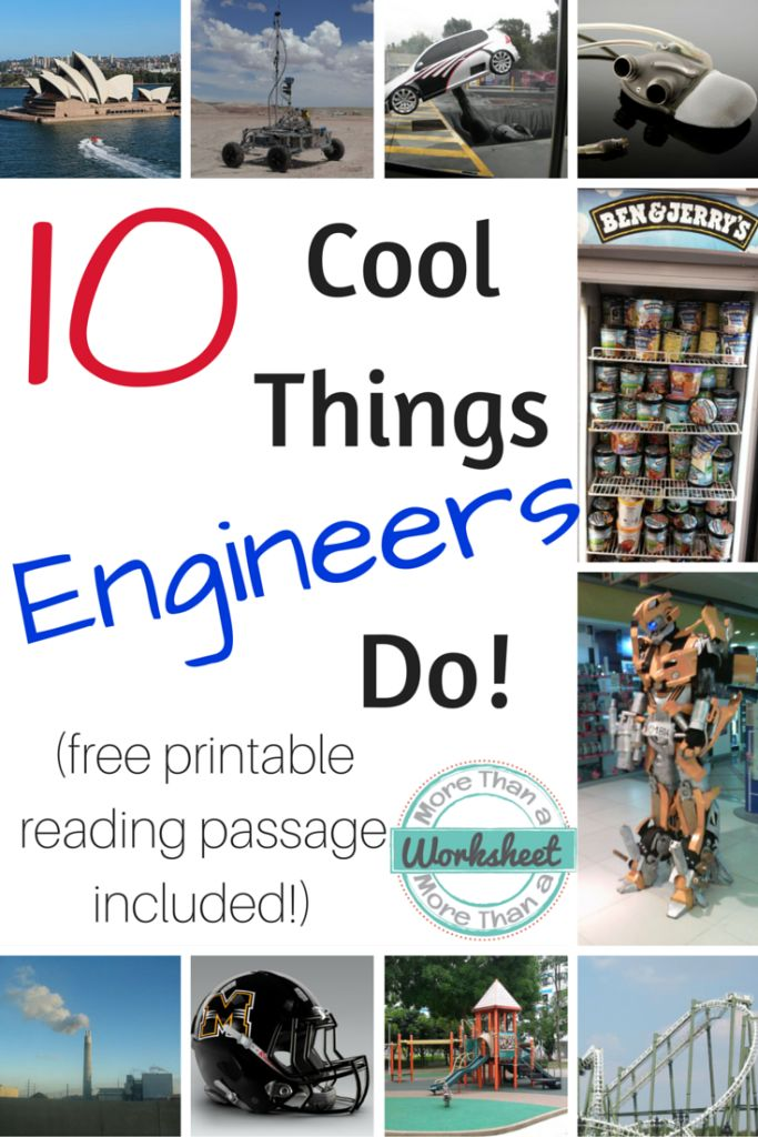 10 Cool Things Engineers Do - if you want to get your kids excited about a career in engineering, read on! Printable reading passage and discussion questions included. | More Than a Worksheet for STEM Activities for Kids