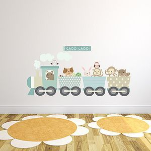 Animal Train Fabric Wall Sticker - baby's room