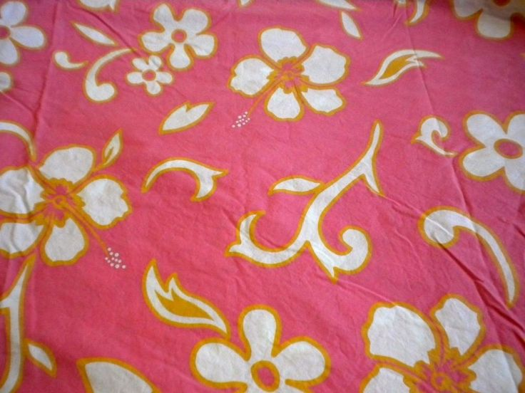 PB Teen Twin Wahine Flat Fitted Sheet Set Pink Hibiscus Orange Tropical Floral #PotteryBarnTeen #Tropical