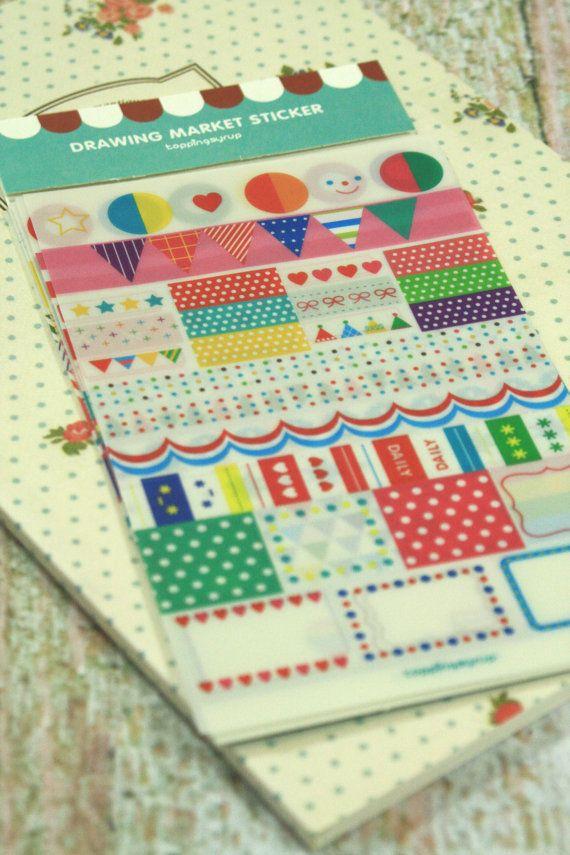 Rainbow Market scrapbooking diary stickers by rikyandnina on Etsy, $3.50