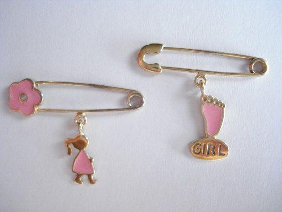 Baby girl safety pin Baptism gift girl Godmother gift by Poppyg