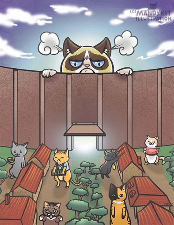 Attack on Tardar Sauce print: Attack on Titan meets Grumpy Cat fanart