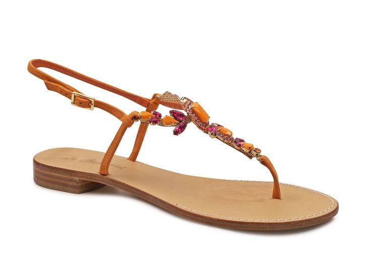Le Capresi orange Suede leather flat Jewel sandals - Italian Boutique €149