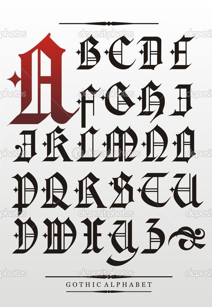 Готический шрифт алфавит - Векторная картинка: 10240934