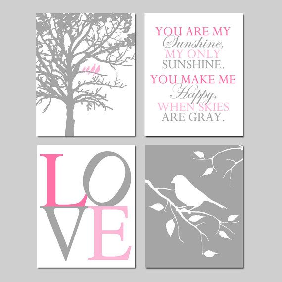 Baby GIrl Nursery Art  Set of Four 11x14 Prints  Birds by Tessyla, $75.00