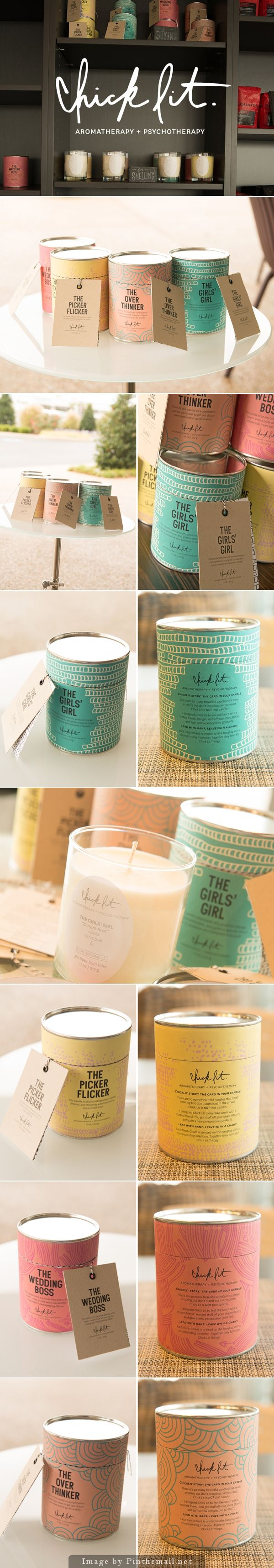 Chick Lit Candles by Morgan Stern. I love these fun colors and the simple. Brilliant Packaging Design examples for your inspiration this week // Introducing @moirestudiosjkt a thriving website and graphic design studio. Feel Free to Follow us @moirestudiosjkt to see more #outstanding pins like this. #packaging #graphicDesign