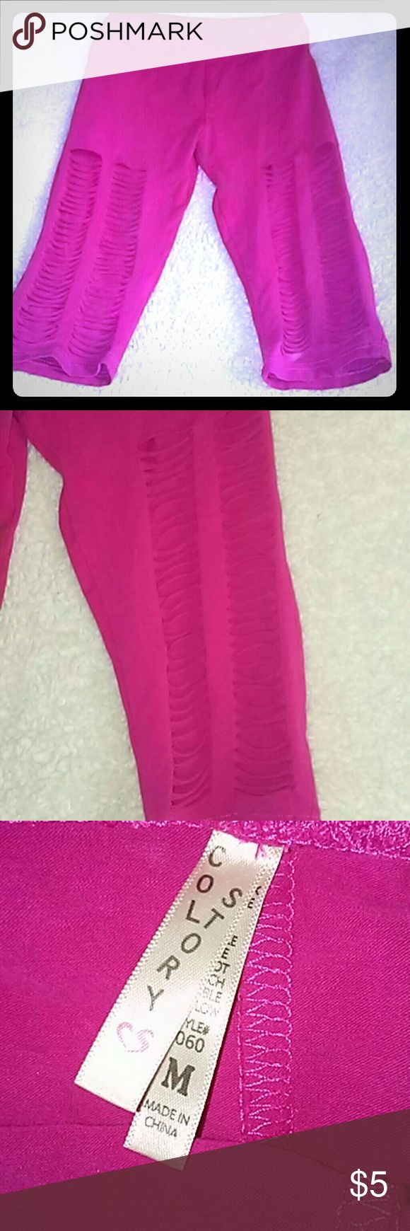 Hot pink ripped and torn pocketed capri legging Hot pink ripped and torn pocketed legging capri style and cute with a dress Pants Leggings