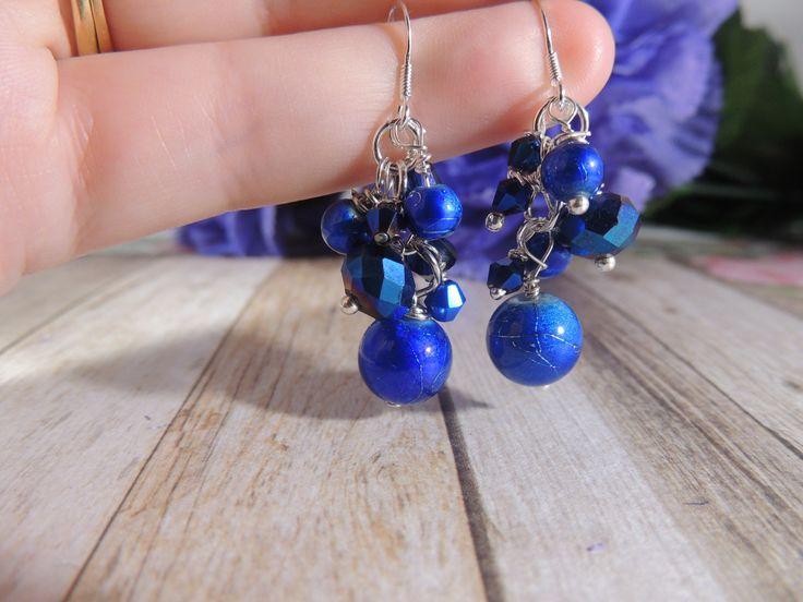 Blue crackle bead 925 stamped sterling silver earrings