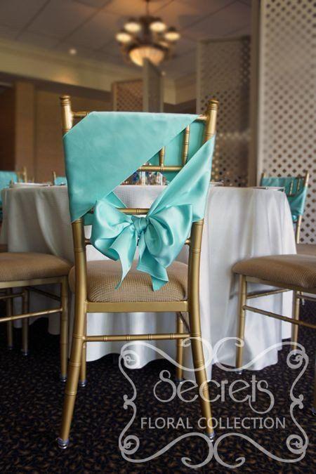 tiffany blue sash wedding chair decoration
