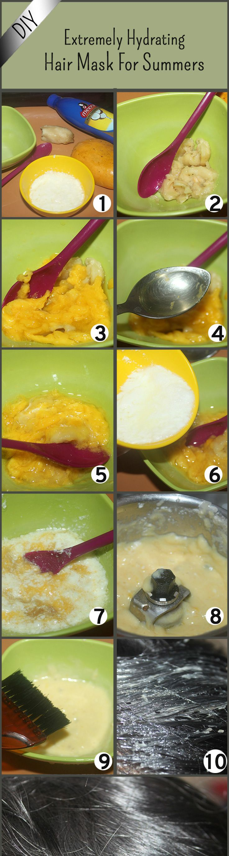 DIY - Extremely Hydrating Hair Mask For Summers : 1banana mashed, 3-4 pieces mango mashed, 2tbsp olive oil, 4tbsp yogurt....make paste n apply on hair for 20min.