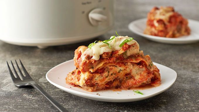 Easy Slow-Cooker Lasagna.........................This lasagna tastes like you spent all day making it, without all of the work.