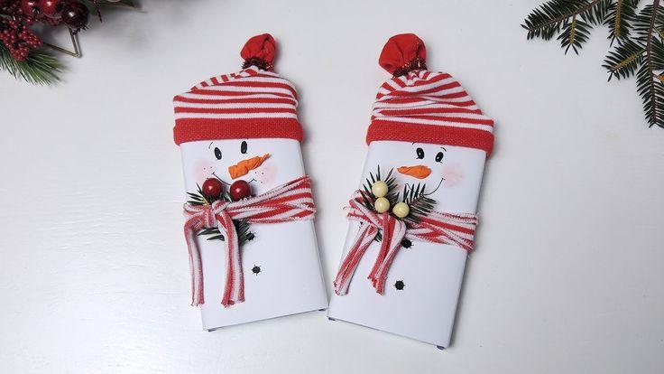 """Новогодняя поделка """"шоколадка-снеговик"""" своими руками."""