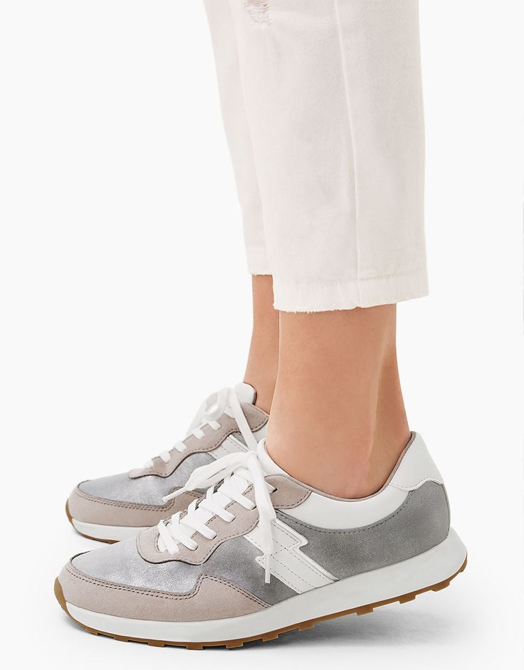 79-Lace-up shiny combined sneakers. Discover this and many more items in Bershka with new products every week