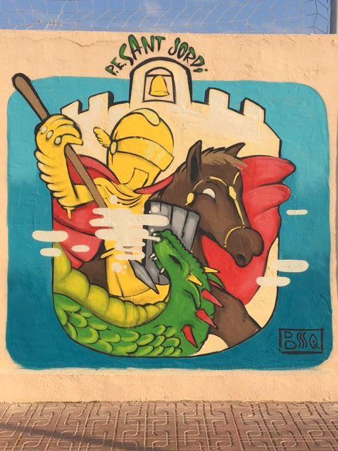 """Nuevo LOGO de la Penya Esportiva """"Sant Jordi"""" en Sant Jordi de ses Salines, Illes Balears #SantJordi #SanJorge #StGeorge - Desde el pasado fin de semana estamos de estreno. Nuevo logo del club con un toque modernizado de la mano de uno de los mejores """"graffiteros"""" de la isla. Esperamos que os guste a todos. ¡Amunt Sant Jordi!   P E Sant Jordi"""